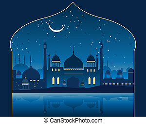 an illustration of an exotic indian skyline with mogul architecture minarets and mosques under a moonlit starry sky