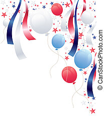 an illustration of an independence day party background with balloons stars and ribbons in red white and blue