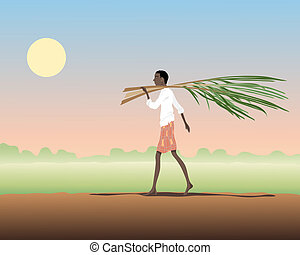 carrying sugar cane - an illustration of an indian man...
