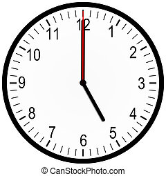 An illustration of an office clock on 5 oclock