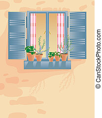 an illustration of an old rustic window with checked curtains shutters and pots of herbs on the windowsill in a stone wall