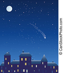 an illustration of an urban night scene with dark buildings lighted windows and frosted roof under a starry sky with full moon and shooting star