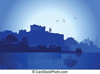 An illustration of Athens skyline in blue color