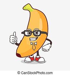 Banana Fruit cartoon businessman mascot character wearing tie and glasses