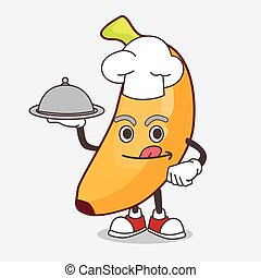 Banana Fruit cartoon mascot character as a Chef with food on tray ready to serve