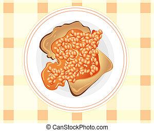 beans on toast - an illustration of beans on toast on a...