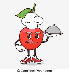 Bing Cherry cartoon mascot character as a Chef with food on tray ready to serve