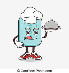 Blue Soap cartoon mascot character as a Chef with food on tray ready to serve