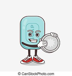Blue Soap cartoon mascot character holding a silver coin medal