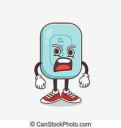 Blue Soap cartoon mascot character with angry face