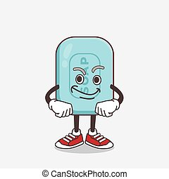 Blue Soap cartoon mascot character with smirking face