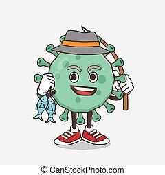 Blue Virus cartoon mascot character fishing with 2 fishes