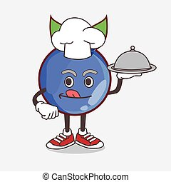 Blueberry Fruit cartoon mascot character as a Chef with food on tray ready to serve