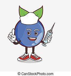 Blueberry Fruit cartoon mascot character as nurse with medical syringe