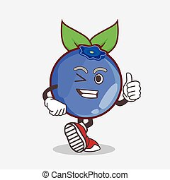 Blueberry Fruit cartoon mascot character making Thumbs up gesture