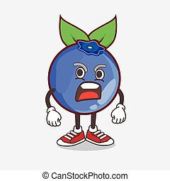 Blueberry Fruit cartoon mascot character with angry face