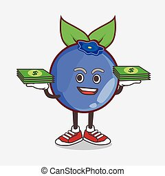 Blueberry Fruit cartoon mascot character with money on hands