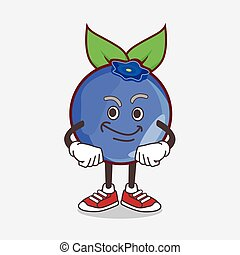 Blueberry Fruit cartoon mascot character with smirking face