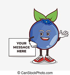 Blueberry Fruit cartoon mascot character with whiteboard