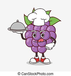 Boysenberries Fruit cartoon mascot character as a Chef with food on tray ready to serve