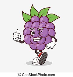 Boysenberries Fruit cartoon mascot character making Thumbs up gesture