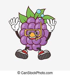 Boysenberries Fruit cartoon mascot character wearing Diving glasses