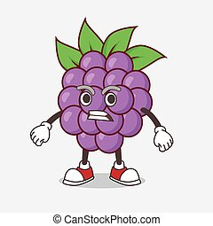 Boysenberries Fruit cartoon mascot character with angry face