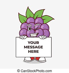 Boysenberries Fruit cartoon mascot character with funny face hides behind a board