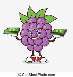 Boysenberries Fruit cartoon mascot character with money on hands