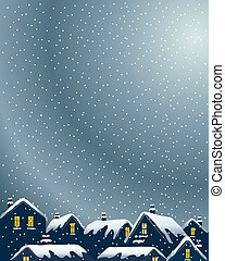 an illustration of buildings on a winter evening with lighted windows and snowy rooftops