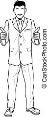 Illustration of businessman giving thumbs up