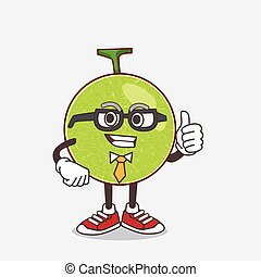 Cantaloupe Melon cartoon businessman mascot character wearing tie and glasses