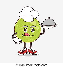 Cantaloupe Melon cartoon mascot character as a Chef with food on tray ready to serve
