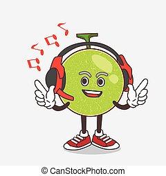 Cantaloupe Melon cartoon mascot character with money on hands
