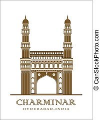 An illustration of Charminar monument in Hyderabad, India