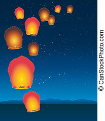 sky lanterns - an illustration of chinese sky lanterns ...