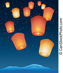 an illustration of chinese sky lanterns with bright flames floating away into a starry night sky