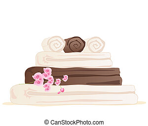 towel stack - an illustration of chocolate and cream color ...