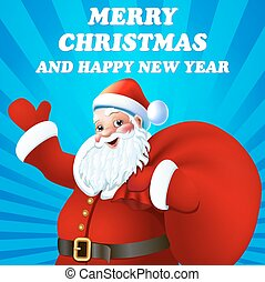 An illustration of Christmas background with Santa Claus and congratulations