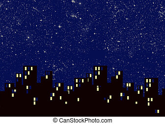 city - an illustration of city buildings at night