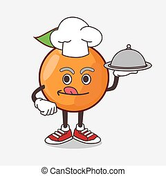 Clementine Orange Fruit cartoon mascot character as a Chef with food on tray ready to serve