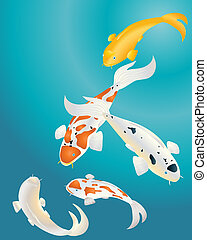 an illustration of colorful koi carp in blue water