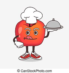 Crab Apple cartoon mascot character as a Chef with food on tray ready to serve