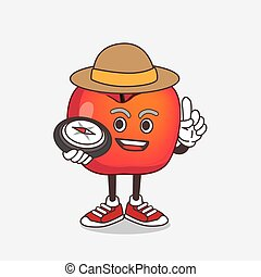 Crab Apple cartoon mascot character having a compass