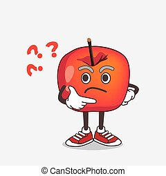 Crab Apple cartoon mascot character in a confused gesture