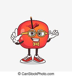 Crab Apple cartoon mascot character in geek style