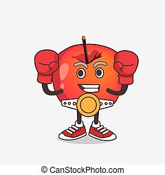 Crab Apple cartoon mascot character in sporty boxing style