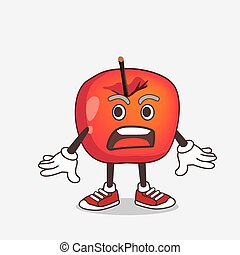 Crab Apple cartoon mascot character with a surprised gesture