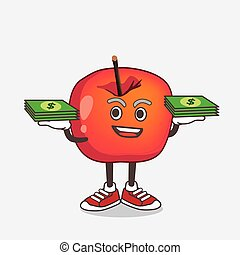 Crab Apple cartoon mascot character with money on hands
