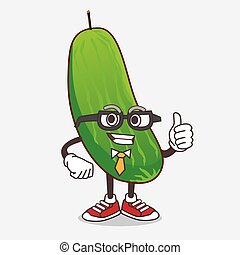 Cucumber cartoon businessman mascot character wearing tie and glasses